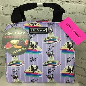 NWT Betsey Johnson Frenchie Lunch Bag Tote